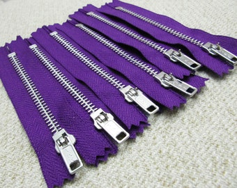 4inch - Purple Metal Zipper - Silver Teeth - 6pcs