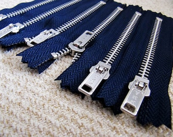 4inch - Navy Metal Zipper - Silver Teeth - 6pcs