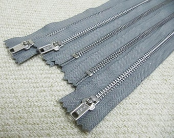 10inch - SmokeGrey Metal Zipper - Silver Teeth - 5pcs