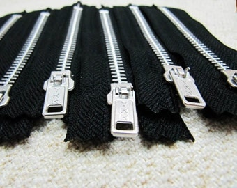 4inch - Black Metal Zipper - Silver Teeth - 6pcs