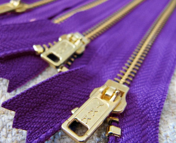7inch - Purple Metal Zipper - Gold Teeth - 5pcs