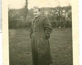 Man in Military Coat and Hat - Vintage Photograph, Vernacular, Ephemera, Military Photo