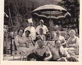 Group in the Mountains with a Chef - Vintage Photograph, Vernacular, Ephemera, Found Photo