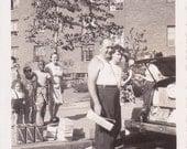 Loading the Trunk - Vintage Photograph, Ephemera, Vernacular, Found Photo (JJ)