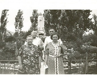 Vintage Photo - Foursome By a Statue -  Vintage Photograph, Vernacular, Found Photo