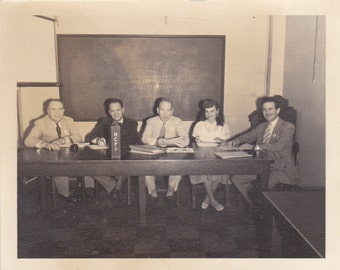 Group at Table - Vintage Photograph, Vernacular, Ephemera, Snapshot