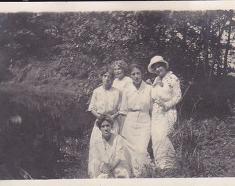 Five Ladies by a Pond - Vintage Photograph, Ephemera, Vernacular