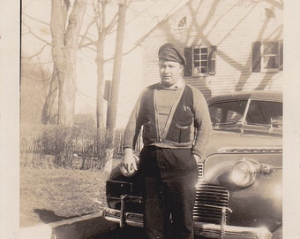 Man in Front of a Car - Vintage Photograph, Vernacular, Ephemera, Black and White