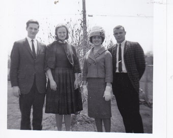 Two Couples -  Vintage Photograph, Vernacular, Ephemera  (L)