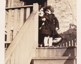 Lady and Little Girl on the Stairs - Vintage Photograph (N)