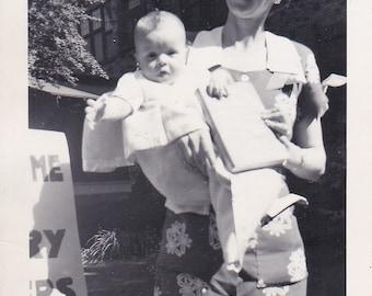 Lady and Baby - Vintage Photograph, Vernacular, Black and White Photo, Ephemera  (BB)