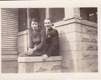 Couple on Steps - Vintage Photograph - Vernacular, Black and White (EE)