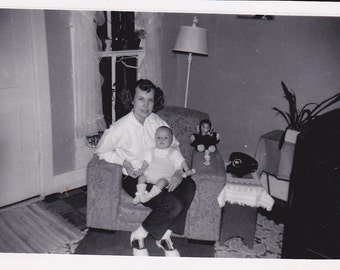Mother and Baby - Vintage Photograph, Vernacular, Found Photo, Ephemera  (EE)
