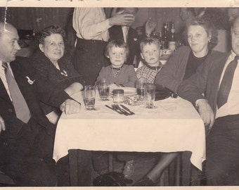 Vintage Photo - Group at Table -  Vintage Photograph, Vernacular, Found Photo (JJ)