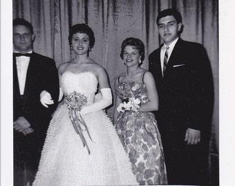 Prom Couples - Vintage Photograph, Vernacular, Black and White  (KK)