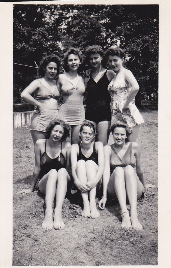 Ladies in Bathing Suits Vintage Photograph (V)