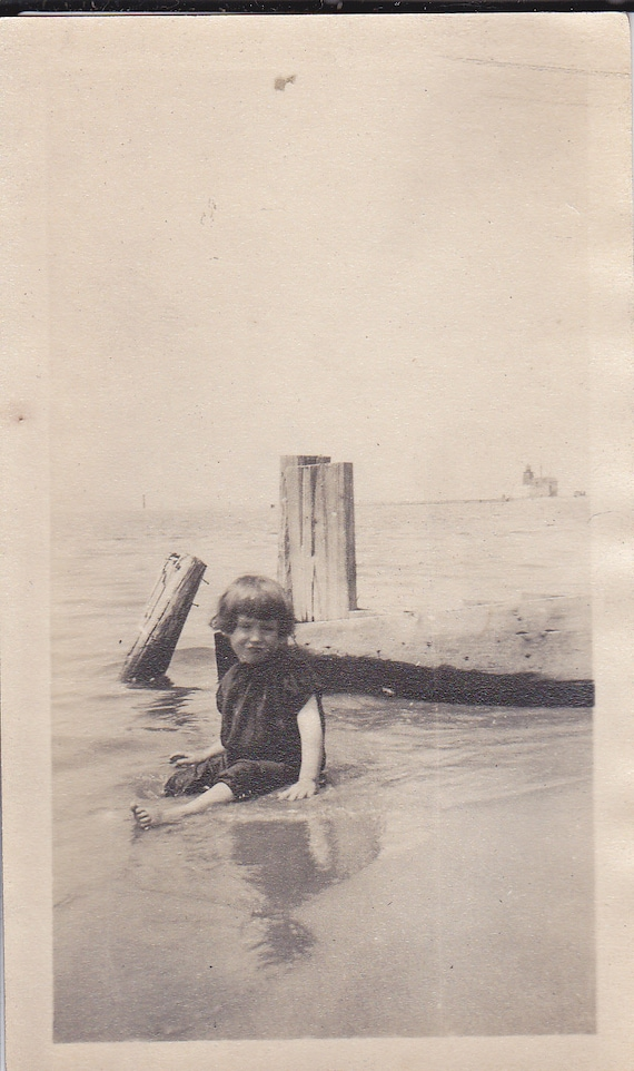Little Girl Sitting in the Water Vintage Photograph (Y)