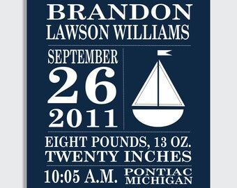 PERSONALIZED Navy Sailboat Birth Announcement Print - 8 x 10, 11 x 14, 13 x 19