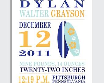 Birth Announcement Print -- SURFBOARDS --  8 x 10, 11 x 14 or 13 x 19