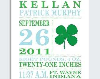 Birth Announcement Print , shamrock, irish baby, personalized baby gift, gift for irish baby, 8 x 10, boy nursery decor, kids art
