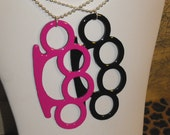 Large Scene Brass Knuckles Necklace
