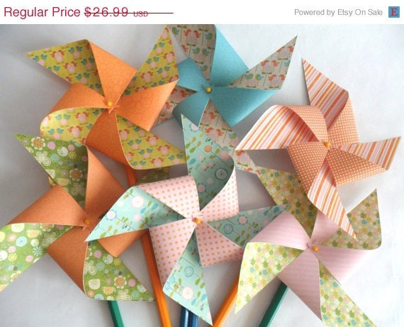 Pinwheels Bye Bye Birdie Set of 12 Pinwheels for a bbq or for Baby Shower Bridal Shower birthday party favors or wedding or Bat