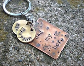 Fathers Day Personalized Gift For Dad - Hand Stamped Custom Keychain -  Dad My Hero by Stellasblossoms
