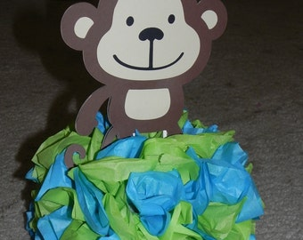 Mod Monkey Blue and Lime Green Centerpiece