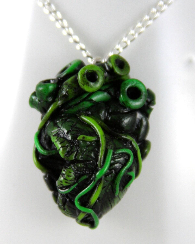 zombie love anatomical heart necklace jewelry handmade