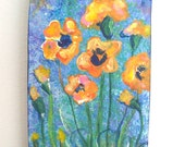 Pansies on Wood Block - Mini Painting