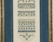 Framed Wedding Sampler - Love Ornate Delicate Stitching Sampler on Belfast Linen - Anniversary Gift - Can/US Free Shipping