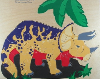 """Triceratops Wooden Puzzle 11""""x11"""""""