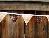Brown-White Dots with Tan-White Gingham Fabric Pennant Banner - Ready to Ship