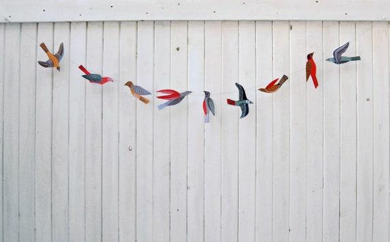 illustrated bird garland