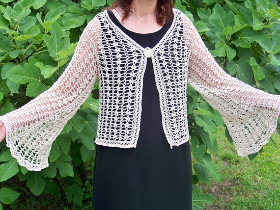 Time to Go ... hand crocheted lacy jacket in natural cotton