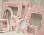 Shabby Chic Painted Picture Frame Mirror Collection Pink ORNATE Gallery Grouping French Victorian