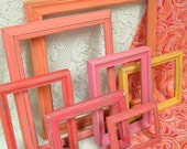 Shabby Chic Picture Frames Painted Tequila Sunrise Coral Orange Pink Seaside Collection Distressed Art Grouping