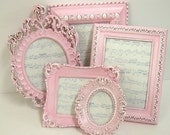Picture Frames Shabby Chic Picture Frame Set Ornate Frames Pink Decor Pink Spring Wedding