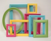 Picture Frames Shabby Chic Frame Set Bright Summer Colors Beach Cottage Home Decor