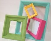 Bright Summer Colors Picture Frames Shabby Chic Frame Set Beach Cottage Home Decor