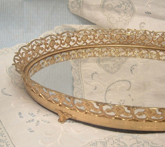 Vintage Filigree Metal Frame Vanity Mirror Tray 50s Ornate