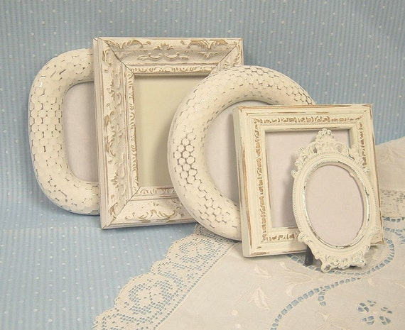 Shabby Chic Cottage Ornate Picture Frame Collection with Glass White Distressed Frames