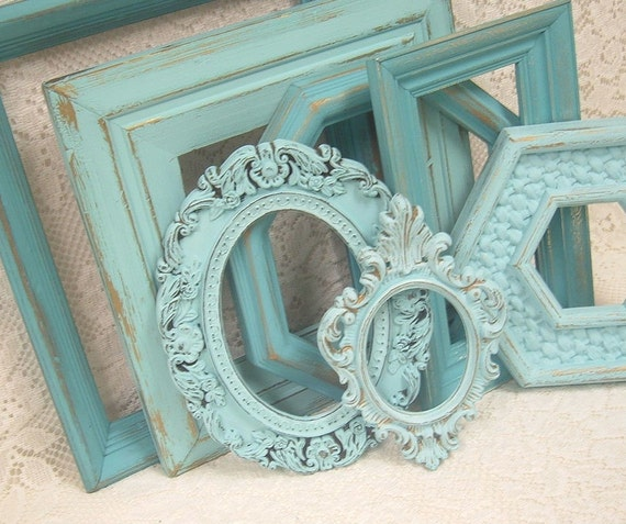 Shabby Chic Painted Picture Frames Collection Aqua Turquoise Ornate Distressed Gallery Grouping