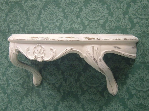 Shabby Chic Painted Wall Shelf Distressed White Ornate French