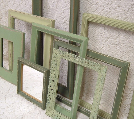 Shabby Chic Picture Frames Mirror Collection Earthy Sage Green Art Grouping
