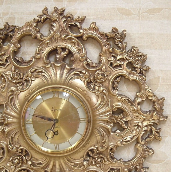 vintage syroco wall clock shabby chic ornate french victorian baroque gold home decor 8 day works