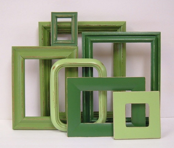 Picture Frames Shabby Chic Picture Frame Set Spring Green Frames Modern Cottage Decor