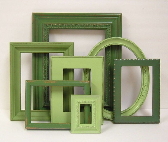 Picture Frames Shabby Chic Picture Frame Set Spring Green Frames Modern Cottage Decor