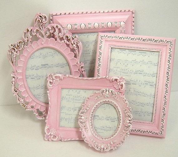 Picture Frames Shabby Chic Picture Frame Set Ornate Frames Pink Decor Pink Spring Wedding