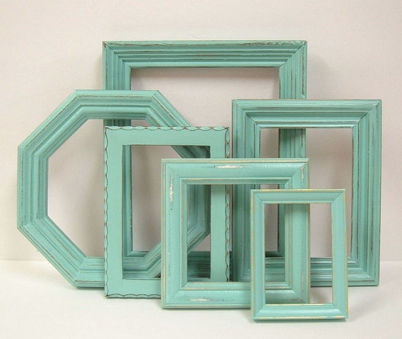 Shabby Chic Picture Frames Turquoise Aqua Mint Green Wall Decor Modern Cottage
